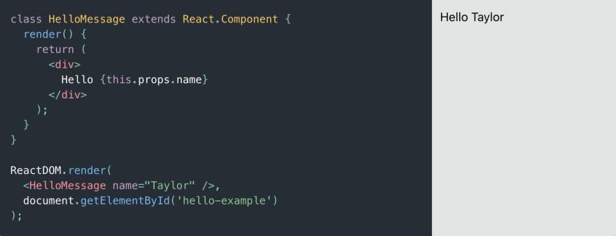 """""""A Simple Component"""" example fromreactjs.org"""