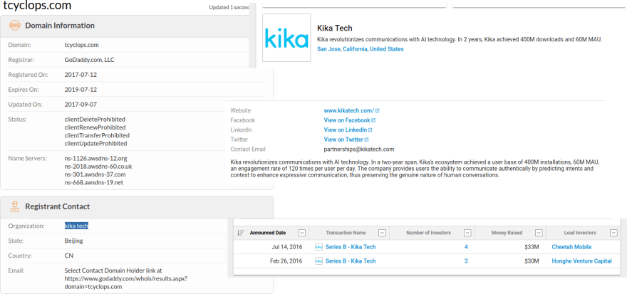 """A quick look on whois.com and crunchbase reveals that the domain is owned by Kika Tech, an """"AI"""" company funded directly by Cheetah Mobile"""