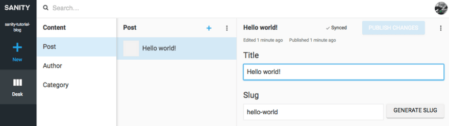 A post in the content studio with Hello World in the title field