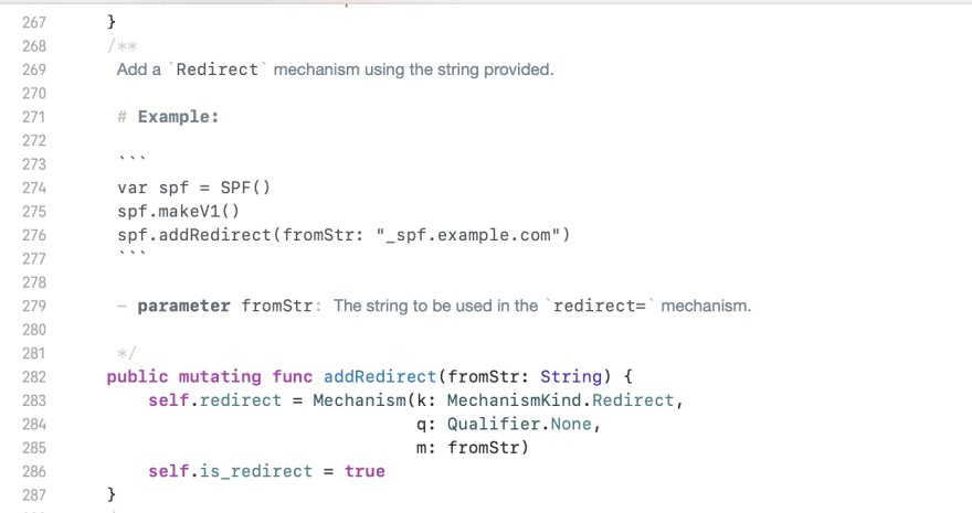 Swift code Comment