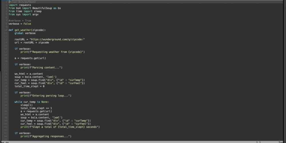 Getting the weather in Python
