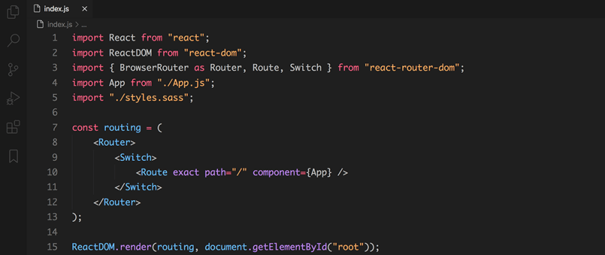 React code snippet with the Min - Dark theme