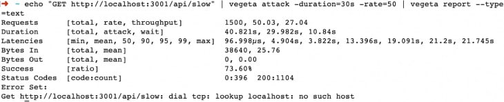 Screenshot of logs from no clustering test