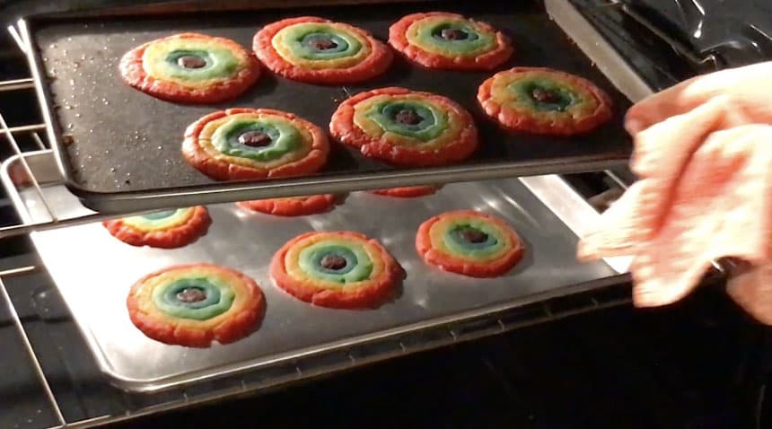 Optimizely interns make rainbow cookies