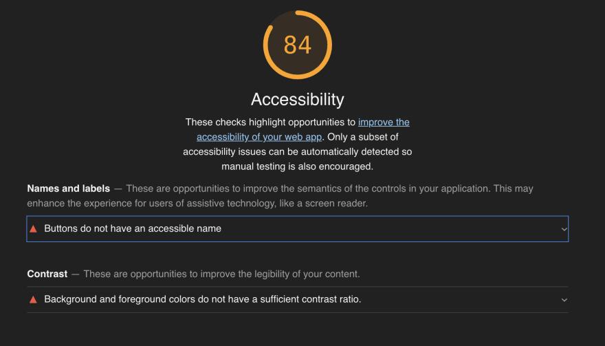 acessibility Lighthouse scores for obinnaspeaks.dev