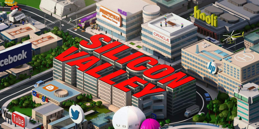 Pixel art image of buildings showing prominent Silicon Valley companies and the text Silicon Valley