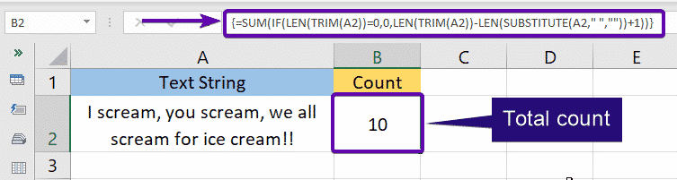 Total Count of words in a cell