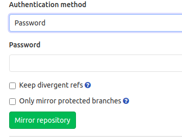 "Detailed view of ""Mirror repository"" button"