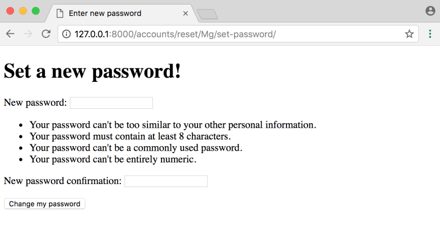 Password confirm page