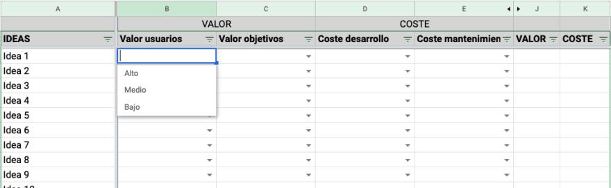 Matriz de análisis de ideas, columna B - Valor para usuarios