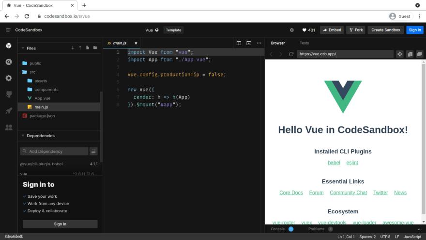 Codesandbox online code editor