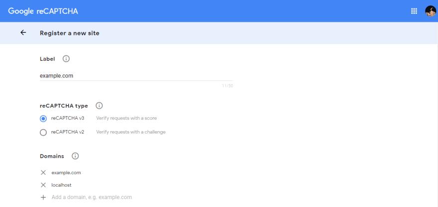 Google reCAPTCHA admin console