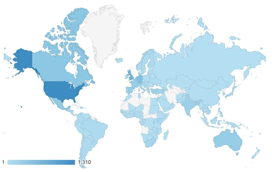 Google Analytics map showing users' geographical distribution