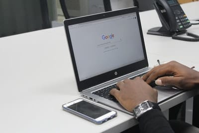 a guy on google search on a macbook