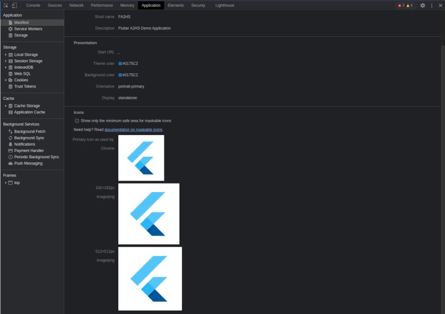 Manifest Tab in Web Dev Tools