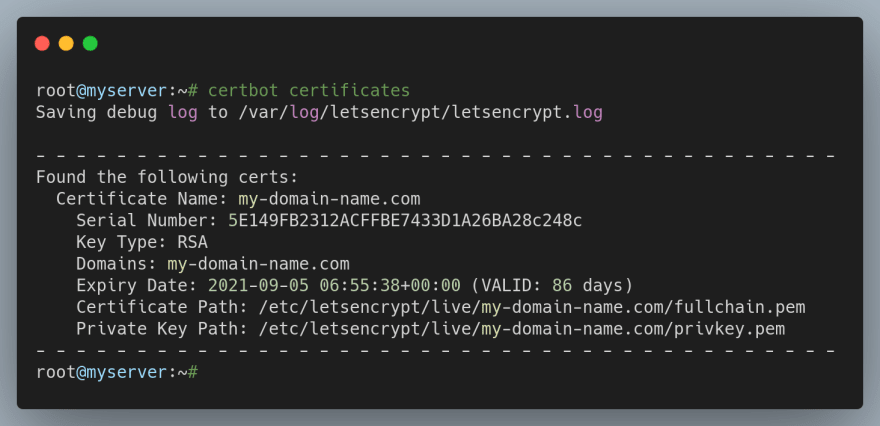 List all SSL certificates issued by Certbot in Ubuntu