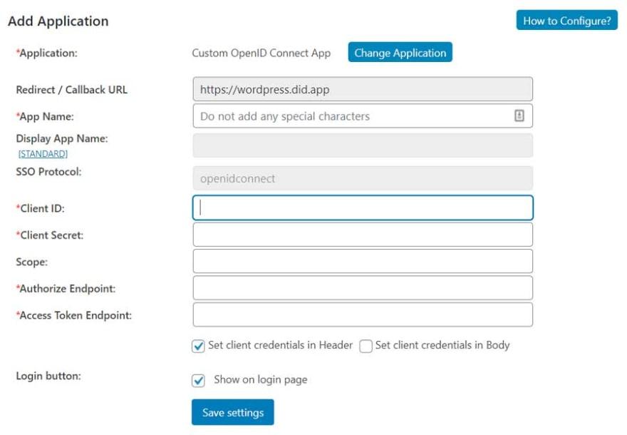 screenshot of miniOrange OpenId connect plugin config dashboard