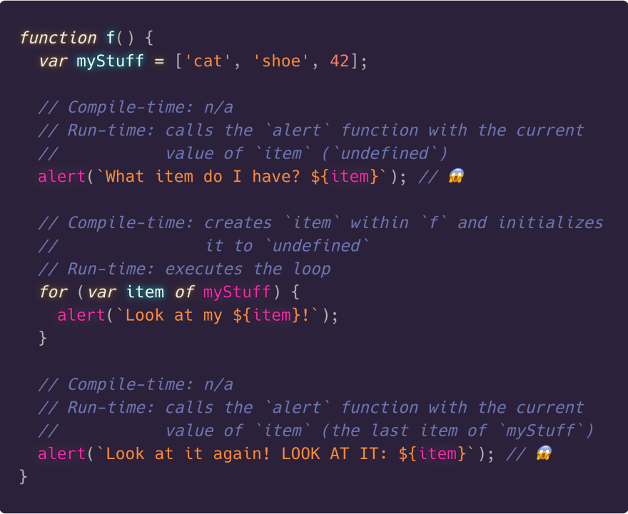Using var for loop variables exposes them outside the loop