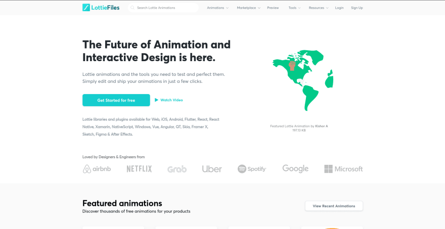 Lottie Files landing page