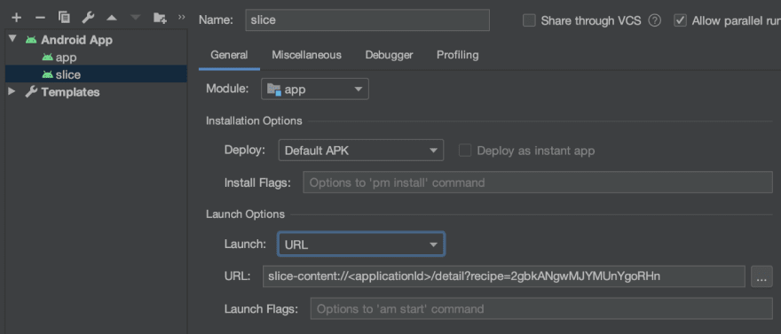 Slice run configuration