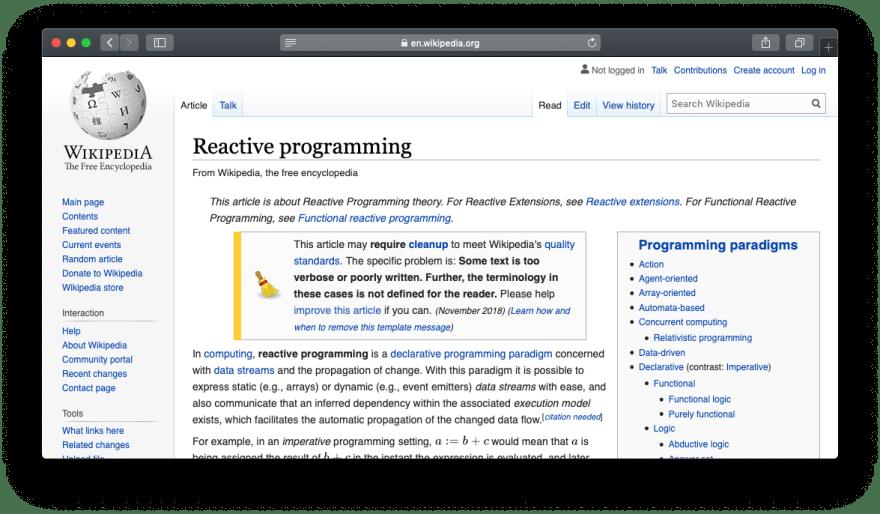 Screenshot of Wikipedia article