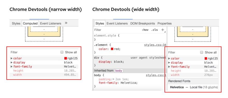 Chrome dev tools computed tab