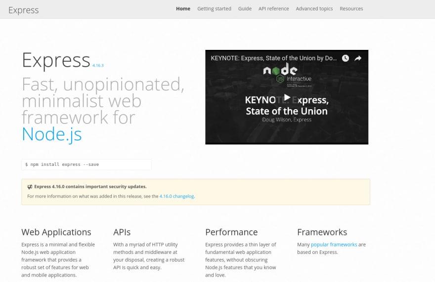 express website screenshot