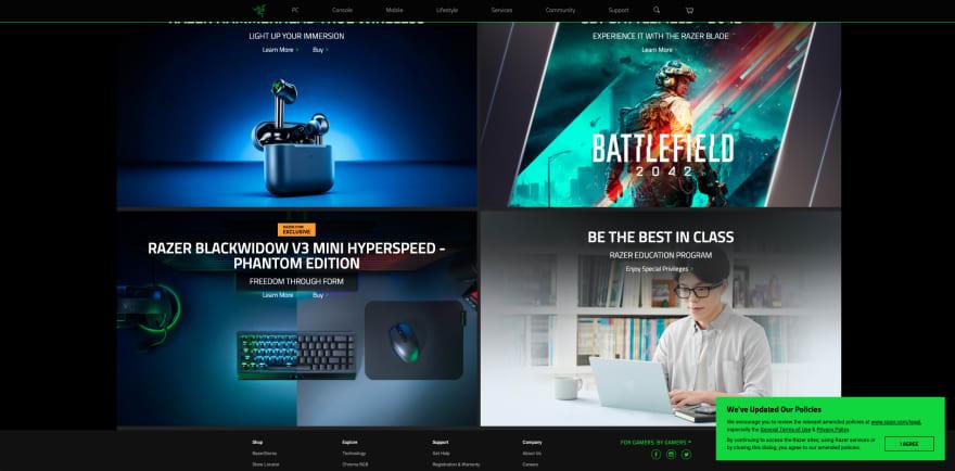Razer website section