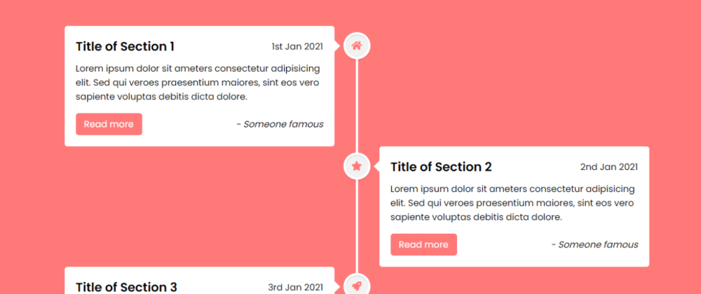 Cover image for Responsive Vertical Timeline Design using only HTML & CSS