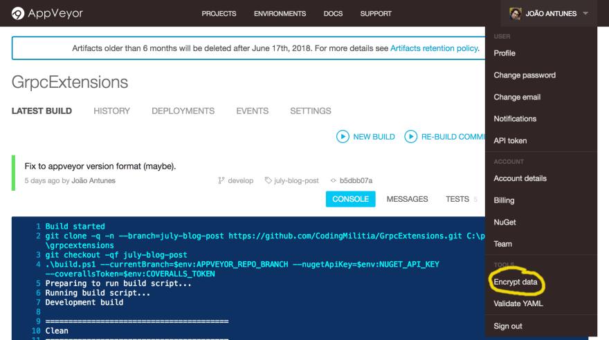AppVeyor Encrypt Data Menu
