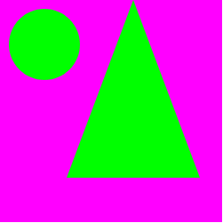 green circle next to a green triangle on a pink square