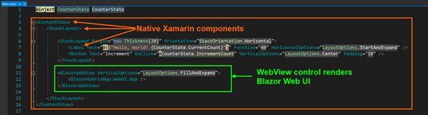 The native Xamarin and Blazor WebView controls in Main.razor file