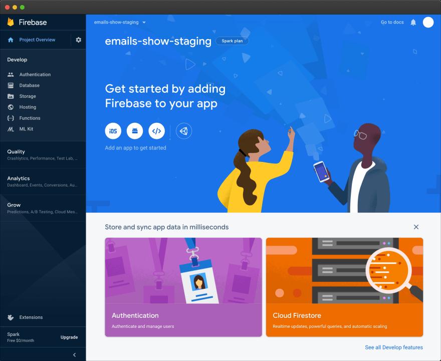 Firebase – project dashboard