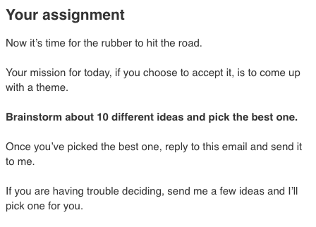 Homework from the first email