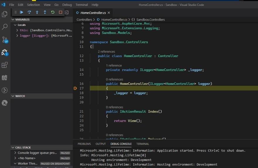 VS Code Command Palette with Debug: Start Debugging selected