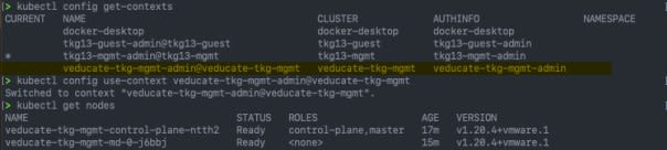 Deploy Management cluster to Azure - kubectl config get contexts - kubectl config use-context