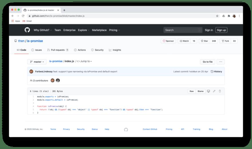 Github screenshot showing is-promise code