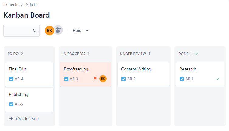Kanban template in Jira (Kanban Board interface)