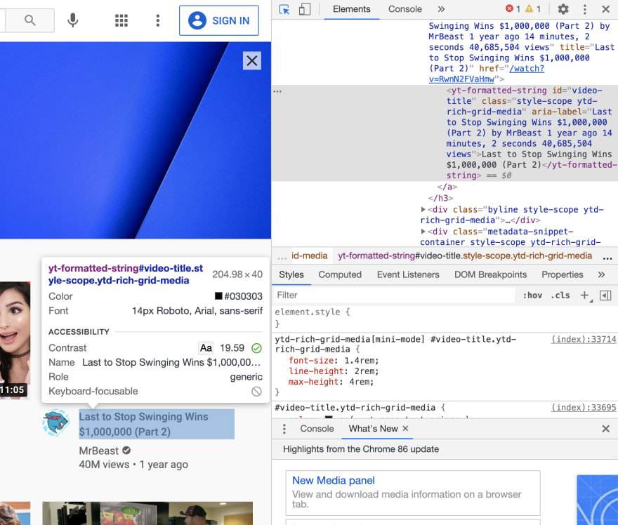 Highlighting elements in the Chrome inspector