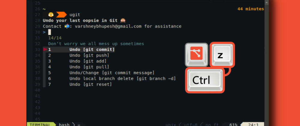 Cover image for Undo your last git mistake with ugit