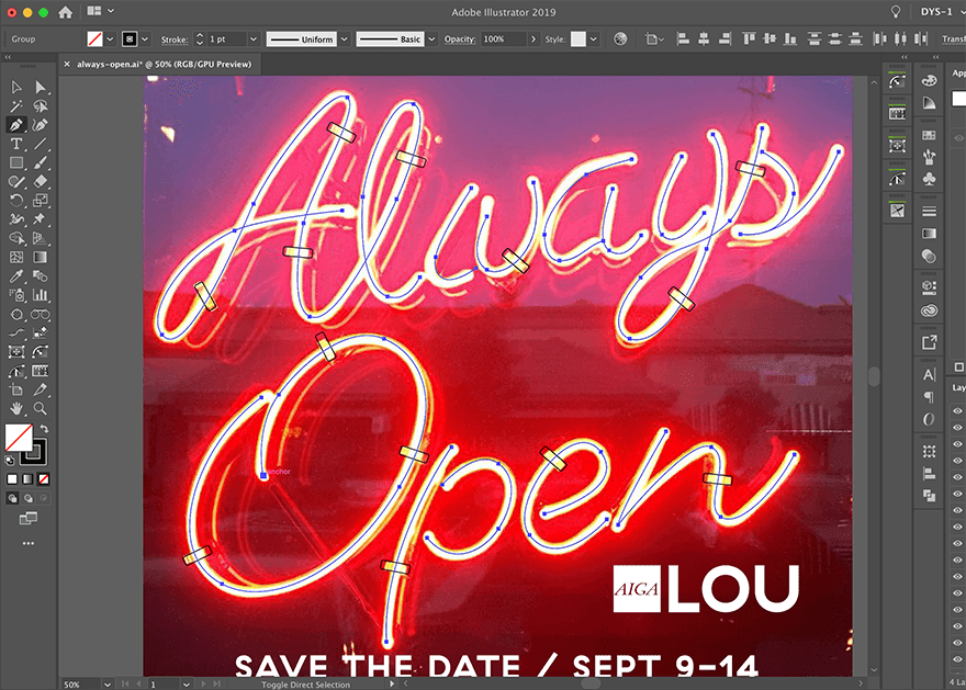 pen tool tracing neon sign