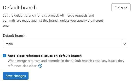 Screenshot of the default branch name configuration