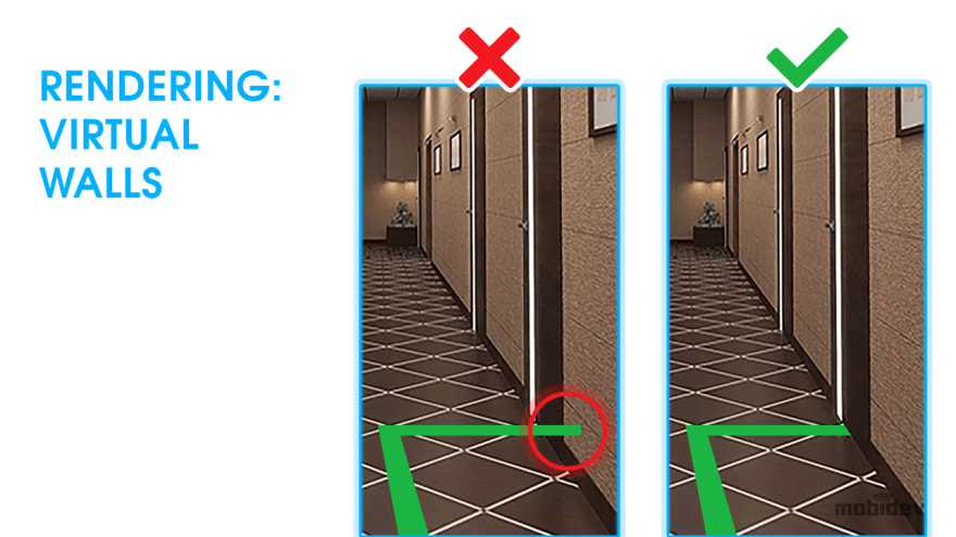 Rendering virtual walls in AR indoor navigation app