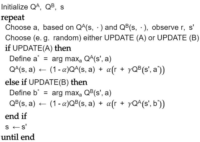 double q-learning pseudocode