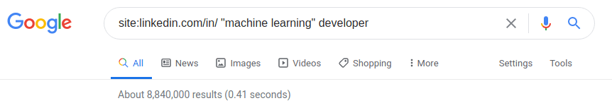 Google Results for machine learning developers with 8 million results