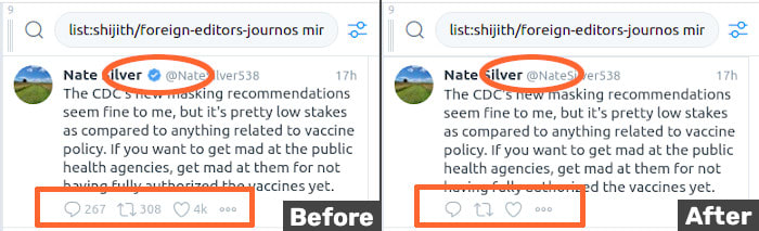 Pic of reply, retweet and like stats being hidden for a tweet in Tweetdeck, before and after filters are applied