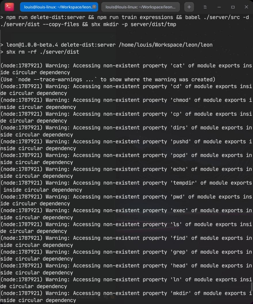 Node.js warnings