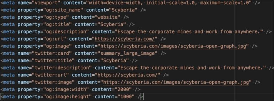 Screenshot of Scyberia Open Graph Metadata
