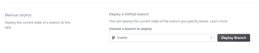 Deploy a branch from Heroku Dashboard