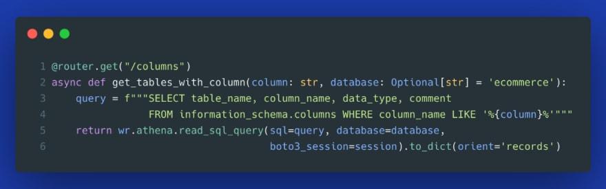 search column names